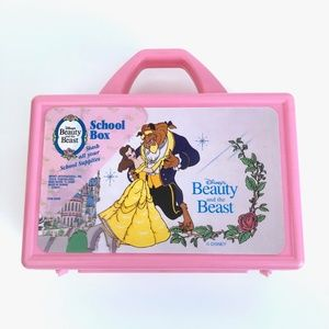 Vintage 90s Beauty and the Beast Pink Pencil Box